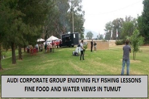 Audi corporate group at Tumut enjoying fly fishing lessons
