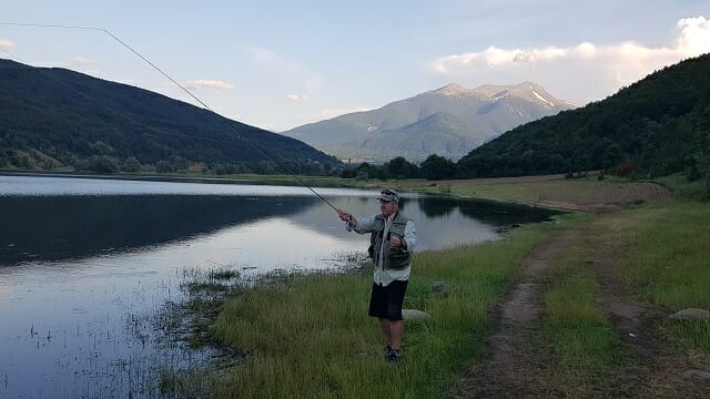 Tane Keremelevski who was born in Capari is from Tumut Fly Fishing based in Tumut Australia, at Strezevo Lake, Capari Pelister, late afternoon for the rise.